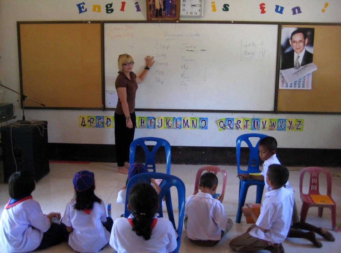 Cours d'anglais dans une école du Cambodge.